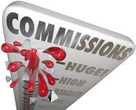 Продажи измерения термометра слова комиссий заработанные деньгами Стоковая Фотография RF