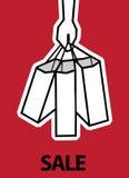 Продажи хозяйственных сумок руки Стоковая Фотография