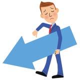 Продаж бизнесмен вниз Стоковое Изображение
