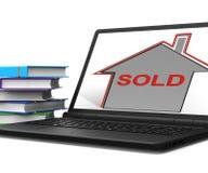 Проданная компьтер-книжка дома показывает продажу и приобретение свойства иллюстрация штока