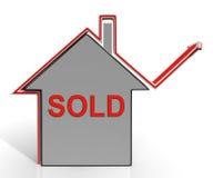 Проданный дом показывает продажу и приобретение свойства иллюстрация штока
