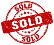 Проданный штемпель красного grunge круглый винтажный иллюстрация штока