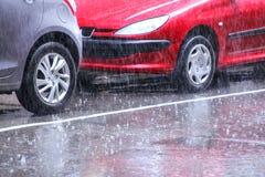 Проливной дождь в центре города Монтевидео, Уругвая Стоковые Фото
