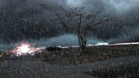Проливной дождь над положением дерева