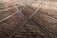 Проложите рельсы скрещивание трамвайной линии в Фрайбурге, Германии Стоковые Фото