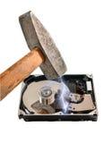 Пролом жёсткого диска молоток, на белой предпосылке Стоковая Фотография RF