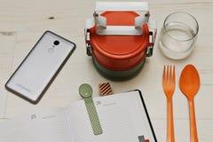 Пролом завтрак-обеда в офисе Стоковая Фотография