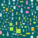 Продукта домашнего хозяйства бутылки Cleanser оборудование мытья картины химического безшовное очищая плоскую иллюстрацию вектора Стоковые Фото