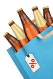 Продуктовая сумка с пивом Стоковое Фото