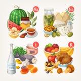 Продукты богатые с витаминами и минералами бесплатная иллюстрация