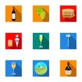 Продукты вина Растущие виноградины, вино Значок продукции лозы в собрании комплекта на плоском запасе символа вектора стиля иллюстрация вектора
