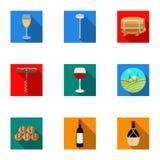 Продукты вина Растущие виноградины, вино Значок продукции лозы в собрании комплекта на плоском запасе символа вектора стиля иллюстрация штока