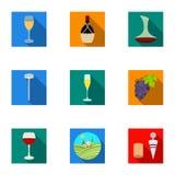 Продукты вина Растущие виноградины, вино Значок продукции лозы в собрании комплекта на плоском запасе символа вектора стиля бесплатная иллюстрация