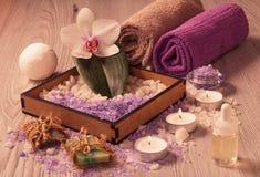 Продукты природы курорта Соль моря, мыло и ароматичное масло Стоковые Фото