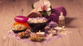 Продукты природы курорта Соль моря, scrub, мыло и ароматичное масло Стоковая Фотография