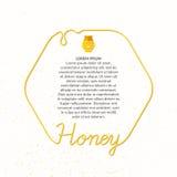 Продукты пчелы Надписи в линейном стиле Стоковые Изображения