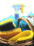 продукты чистки корзины Стоковые Фотографии RF