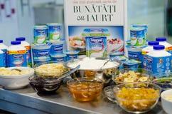 Продукты Danone и еда завтрака Стоковое фото RF