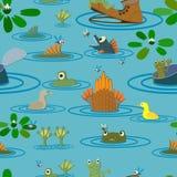 Пруд лета с лягушками, рыбами и цветками безшовно Стоковые Изображения