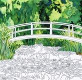 Пруд 1899 лилии воды Клодом Monet: взрослая страница расцветки Стоковые Фотографии RF