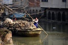 Пруд лотоса рабочий-мигрантов зимы для того чтобы заработать трудные деньги стоковое изображение rf