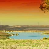 Пруд полива в волшебном свете стоковое изображение rf