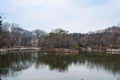 Пруд внутри района дворца Changgyeong Стоковая Фотография