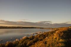 Пруд захода солнца осени Стоковая Фотография RF