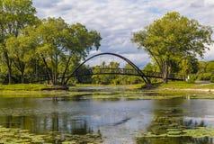 Пруд и мост стоковое фото rf