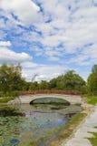 Пруд и мост Стоковые Изображения RF