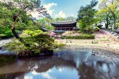 Пруд на парке Huwon, секретный сад Buyeongji, Changdeokgung p Стоковые Фотографии RF