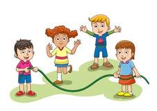 Прыгая игра скачки Группа в составе дети играя прыгая скачку иллюстрация вектора
