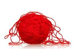 пряжа красного цвета шарика Стоковые Изображения