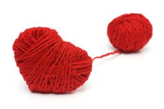 Пряжа шерстей в символе формы сердца Стоковое Изображение