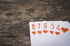 Прямой поток покера играя карточек с copyspace Стоковое фото RF