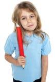 Прямой ый малыш держа огромный красный карандаш Стоковое фото RF