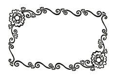 Прямоугольная декоративная покрашенная рамка вектора с цветками и дворняжкой Стоковое Фото