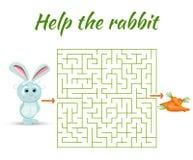 Прямоугольная игра загадки лабиринта, путь находки ваш путь Помогите кролику иллюстрация вектора