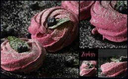 Прямоугольник коллажа - розовые домодельные zephyr или зефир, mering стоковое изображение rf