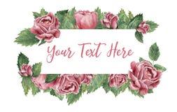 Прямоугольник сформировал рамку сделанную розовых зацветая роз иллюстрация вектора