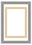 Прямоугольные этнические геометрические рамки Черно-белые, желтые цвета Стоковые Фото
