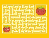 Прямоугольный лабиринт с милым персонажем из мультфильма Найдите правый путь малыши игры Головоломка для детей Тип шаржа бесплатная иллюстрация