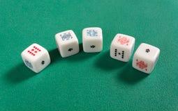 Прямо на кости покера Стоковое Изображение RF