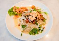 Пряная креветка и салат смешивания vegetable, тайская еда Стоковые Изображения
