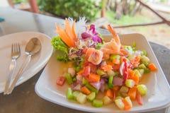 Пряная креветка и салат смешивания vegetable, тайская еда Стоковое Изображение