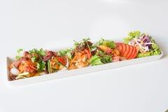 Пряная яичница, бекон и китайская сосиска стоковая фотография rf