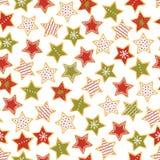 Пряника рождества звезды картина форменного безшовная Помадки рождества r иллюстрация вектора