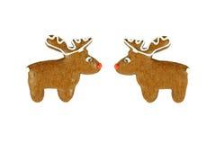2 пряника северного оленя рождества на белизне Стоковая Фотография RF