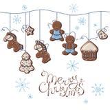 Пряники рождества вися на шариках иллюстрация вектора
