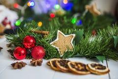 Пряник в форме звезд, красных шариков рождества, высушенных лимонов, циннамона и зеленых гирлянды и светов Стоковые Изображения
